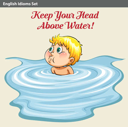 from above: An idiom showing a man keeping his head above the water