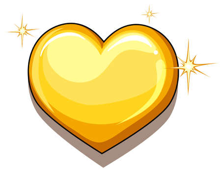 golden heart: A heart of gold on a white background Illustration