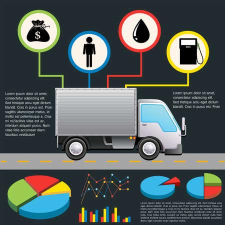 infochart: An infochart of a delivery van on a gray background Illustration