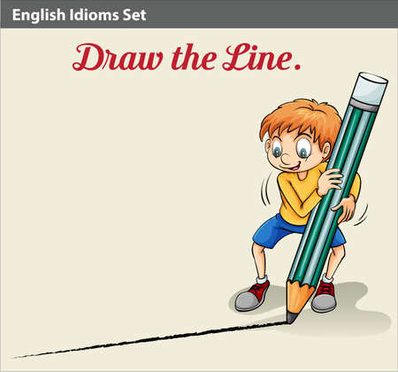 boundaries: An idiom showing a boy drawing a line Illustration