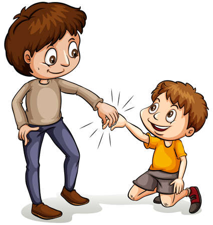 helping children: An idiom showing a man helping a young boy on a white background