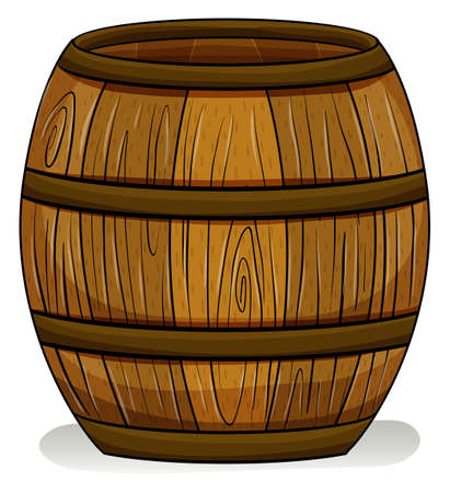 cooper: A wooden barrel on a white background