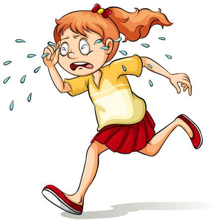 Ein Mädchen weinen einen Fluss Idiom auf einem weißen Hintergrund
