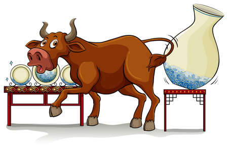A bull in a China shop on a white background Illustration