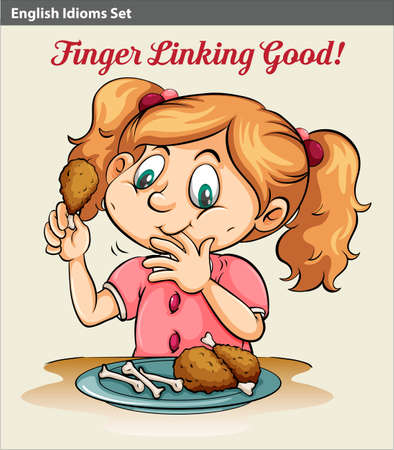 idiom: An idiom showing a girl eating Illustration