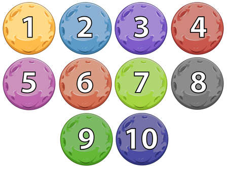 Colourful balls with numbers on a white background Vector