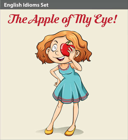 A poster showing the apple of my eye idiom Illustration