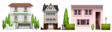sheltering: Three building designs on a white background