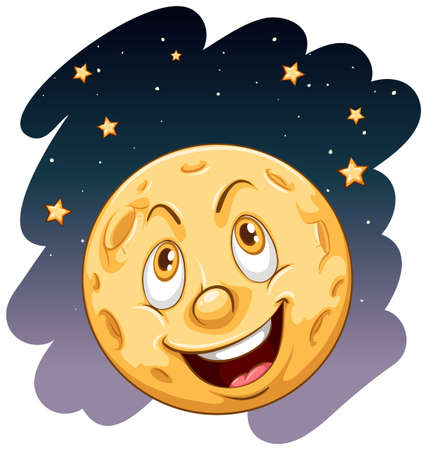 moon: A smiling moon on a white background Illustration