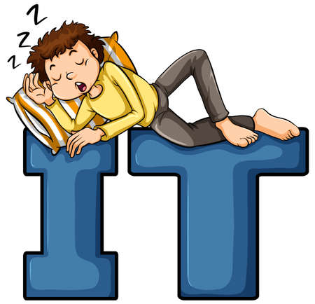 i t: A boy sleeping on the IT letters on a white background Illustration