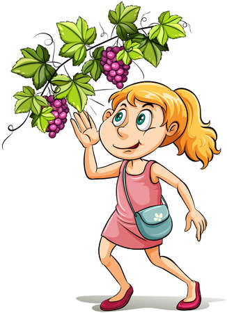An idiom showing a girl and a grapevine on a white background