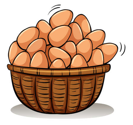 A basket full of eggs on a white background