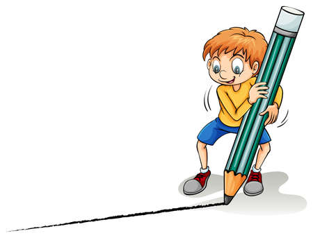 Boy drawing a line on a white background Illustration