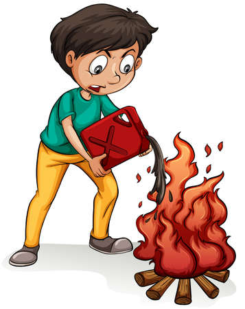 Adding fuel to the fire idiom on a white background royalty free vector publicscrutiny Images