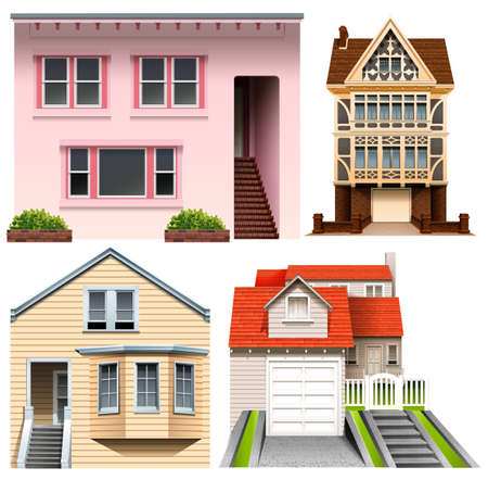 Four different house designs on a white background Vector
