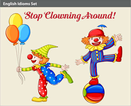 clowning: A poster showing two playful clowns Illustration