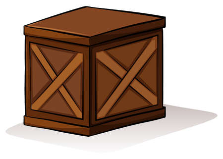 wooden box: A wooden box on a white background