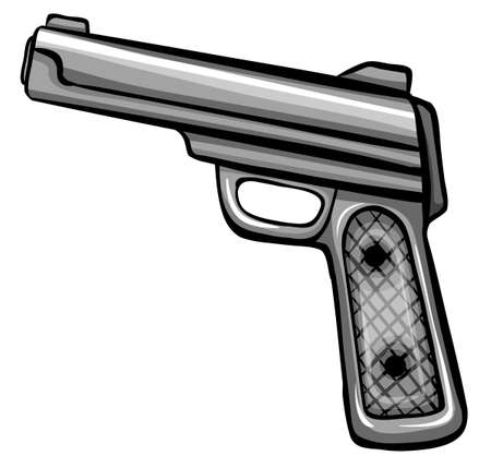 electromagnetic: A gun on a white background Illustration