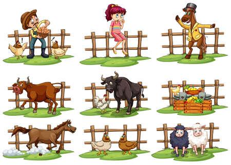 animales de granja: Conjunto de vallas con las personas y los animales sobre un fondo blanco