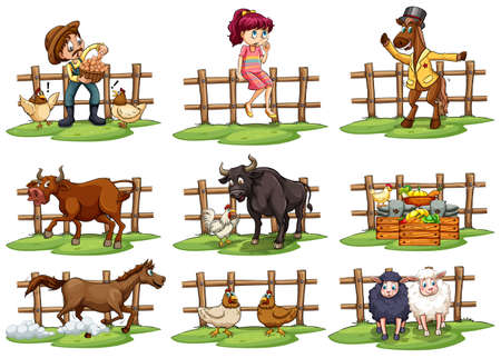 Set of fences with people and animals on a white background