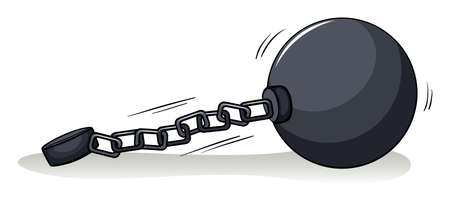 circumference: Ball with a chain on a white background