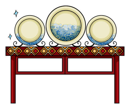 mart: Plates above the table at the China shop on a white background Illustration