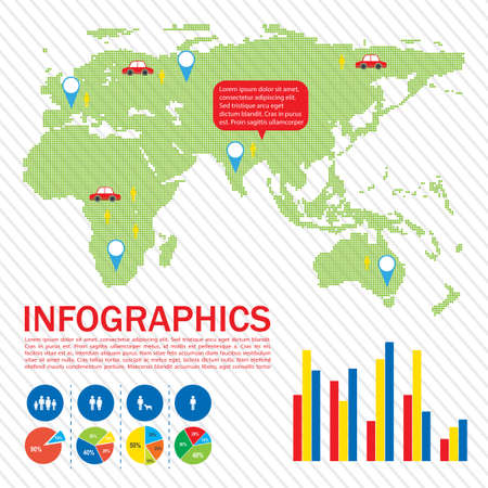concise: A graphical interface of a map showing the different locations Illustration