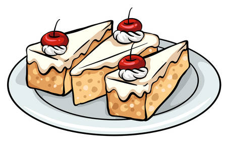 sweetened: A plate with three slices of cakes on a white background