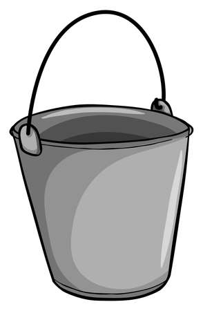 grey: Small grey bucket on a white background
