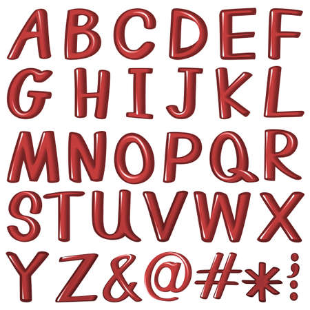 capitalized: Letters of the alphabet in red color on a white background
