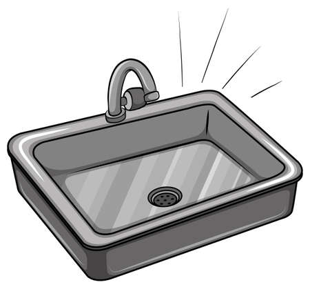 sink drain: A kitchen sink on a white background