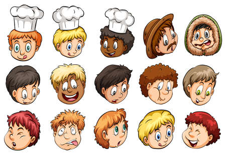 naughty boy: A group of faces showing different expressions on a white background