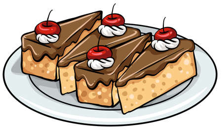 trozo de pastel: Plato con tres rodajas de pasteles sobre un fondo blanco Vectores