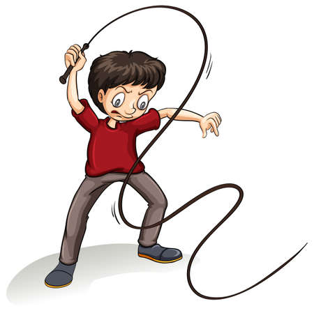beating: Angry young man holding a rope on a white background