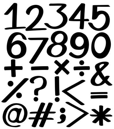 Set of numbers in black colors on a white background