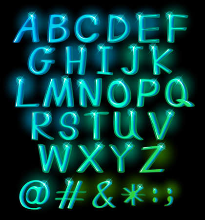 Sparkling big letters of the alphabet Vector