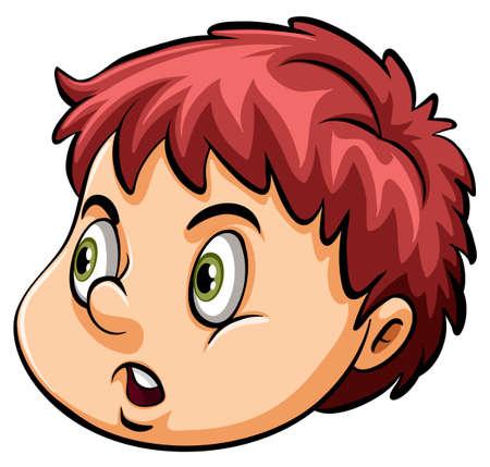anger kid: Una testa di un ragazzo arrabbiato su uno sfondo bianco