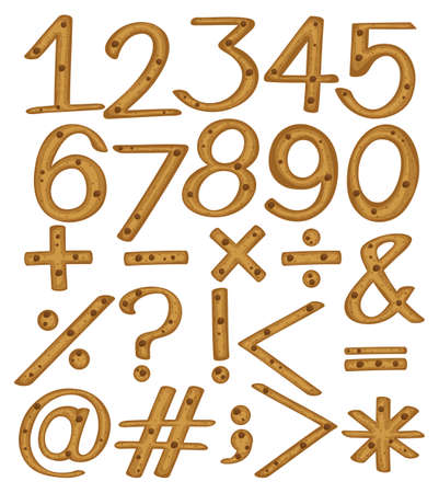 numerical: Numerical figures and symbols on a white background