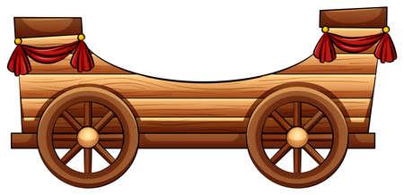 bandwagon: Improvised wooden bandwagon on a white background