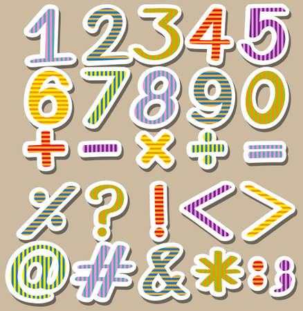 subtraction: Colourful set of numbers on a gray background