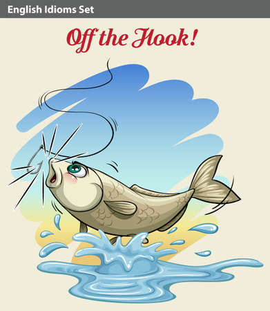 idiom: An idiom showing a fish getting caught on a white background Illustration