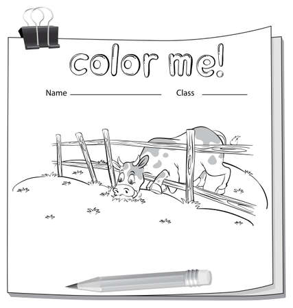 coloring sheets: Worksheet with a cow at the field on a white background