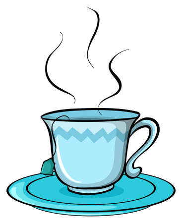 melaware: Cup of tea on a white background Illustration