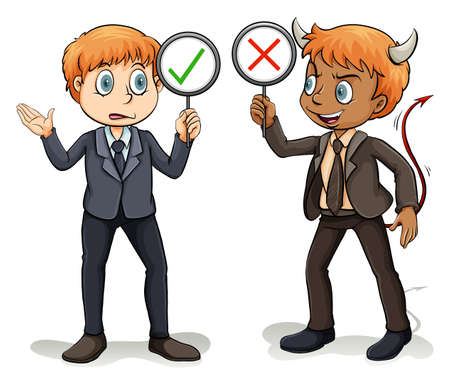 good and bad: Man with a devils advocate on a white background Illustration