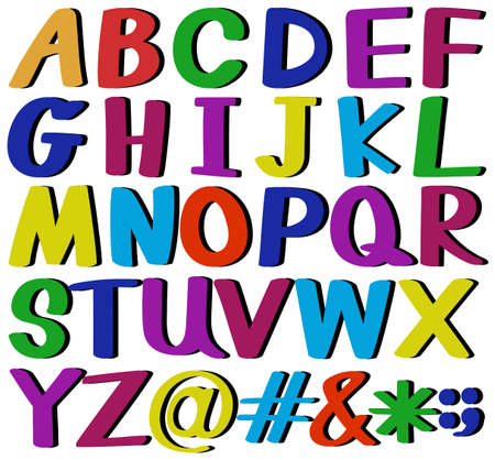 r p m: Colourful letters of the alphabet on a white background