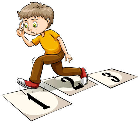 counting: A boy thinking on a white background Illustration