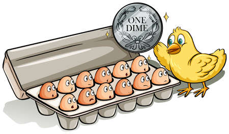 dozen: Dozen of eggs and a chick on a white background