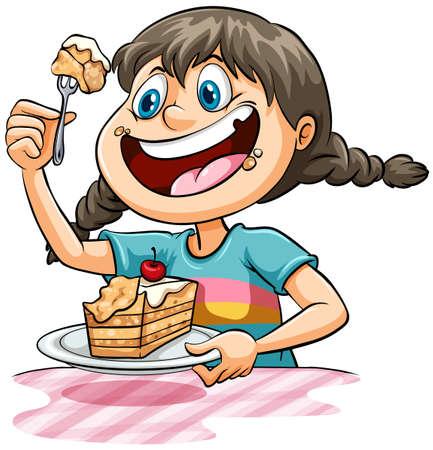 Junges Mädchen isst einen Kuchen auf einem weißen Hintergrund