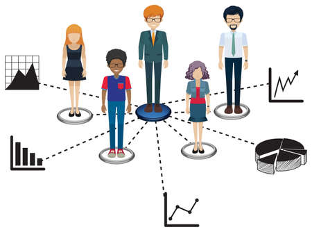 multiple image: Network of people on a white background