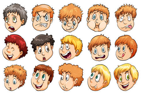 multiple image: Group of heads with different facial expressions on a white background Illustration